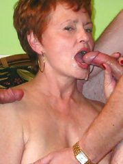 65 Year Old GRANNY swallows COCK and CUM