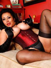 Lady Danica in silk stockings,silk corset and satin gloves.