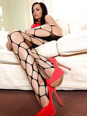 Stunning Audrey in red heel scene