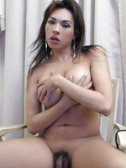 Provocative brunette shemale showing her fuckable ass on a chair