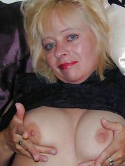 Perverse blonde grandma showing her fat ass