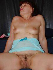 Fervid grandma Christel teasing with her blue lingerie