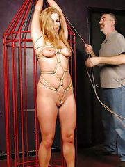 Sexy Samantha suffers bound caging before the clamps and the vibe